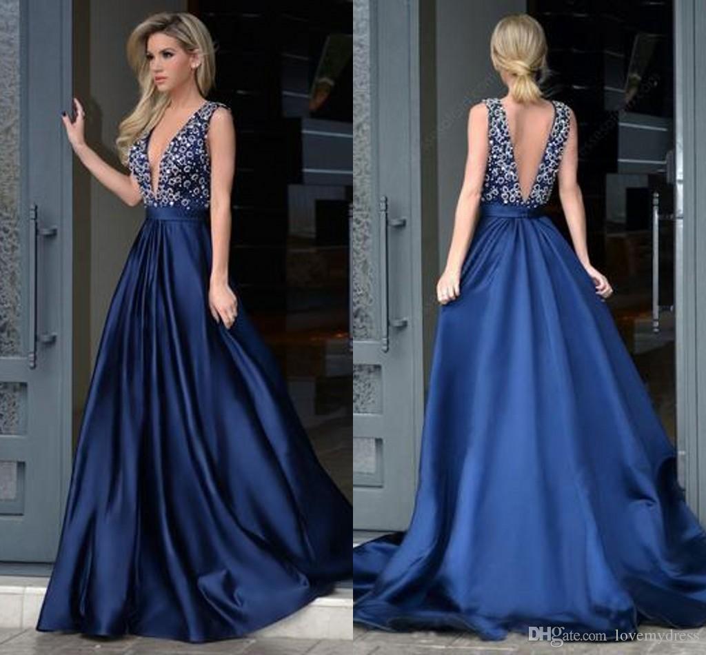 Compre Sexy Lentejuelas Azul Noche Vestido De Fiesta Largo Barato 2018 Profundo Cuello En V Sin Espalda Cristal Cuentas Una Línea Longitud Del Piso