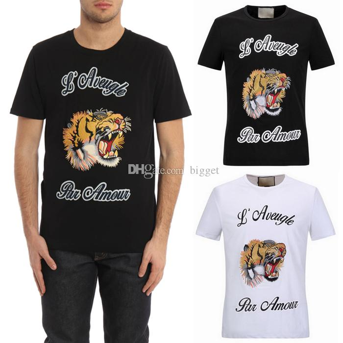 NEW Hot Sale T-Shirt Men Shortsleeve Stretch Cotton Jersery Tee Men's Embroidery Tiger Printed Letters Crew Collar Casual Tops Male