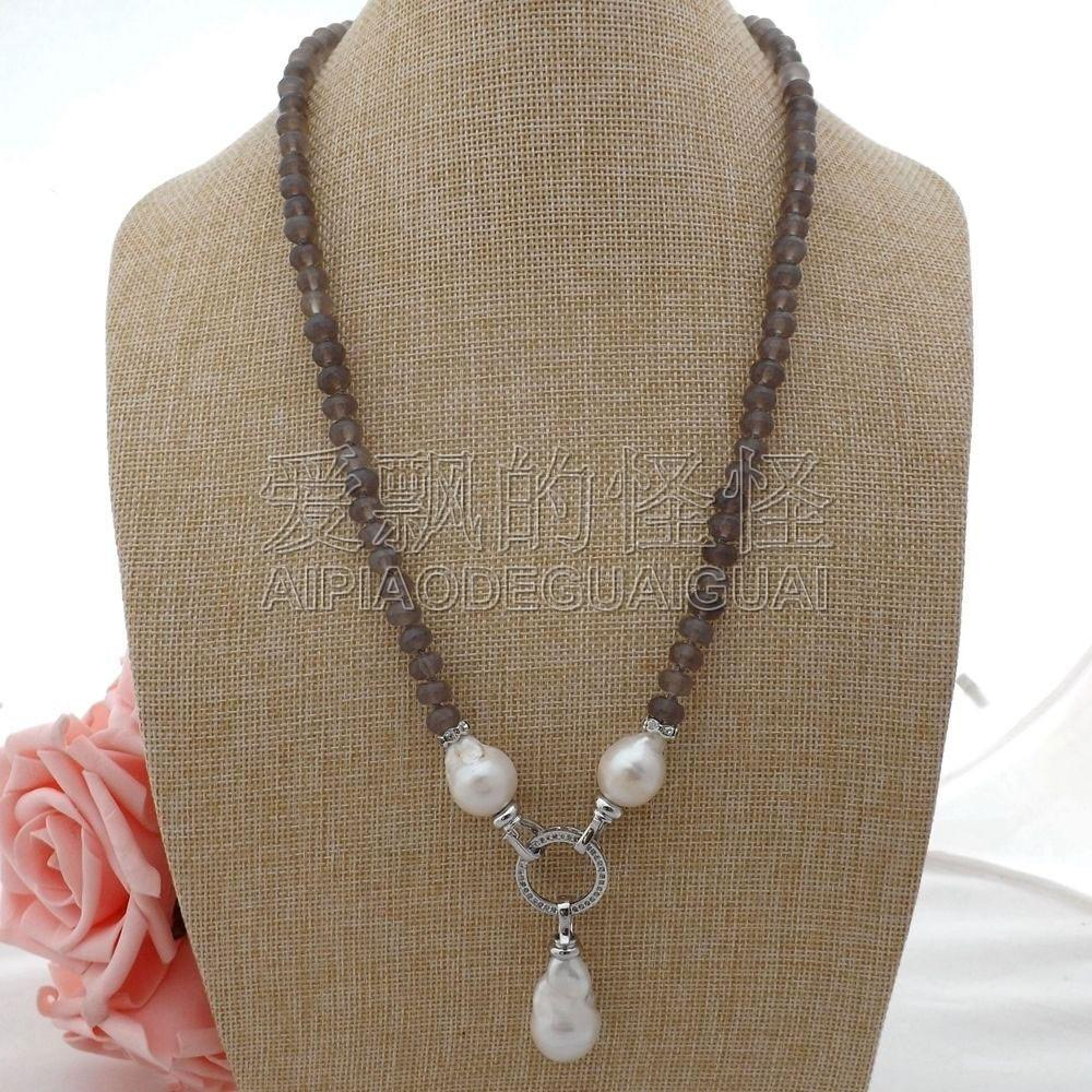"""N052110 23"""" White Keshi Pearl Gray Necklace"""