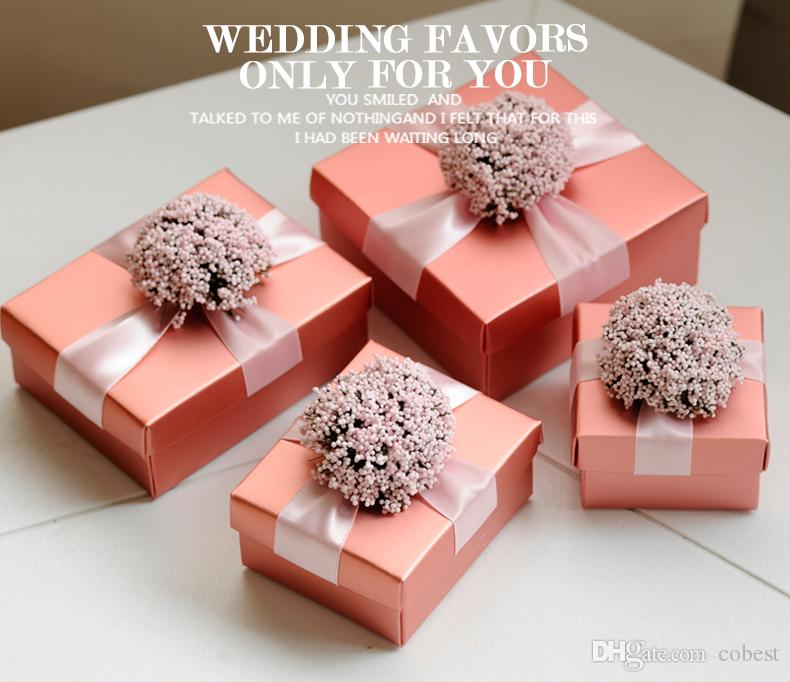 Wedding Party Favors Gift Boxes 10x10x5cm Chocolate Candy Boxes Baby Shower Favors Paper Box Red Pink Blue