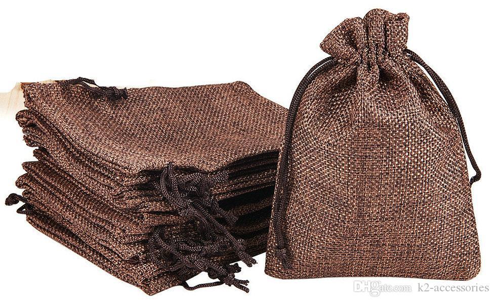 البني 7x9 سنتيمتر 9x12 سنتيمتر 13x18 سنتيمتر 10x15 سنتيمتر مصغرة الحقيبة الجوت حقيبة الكتان القنب مجوهرات هدية الحقيبة الرباط أكياس لحضور الزفاف، الخرز