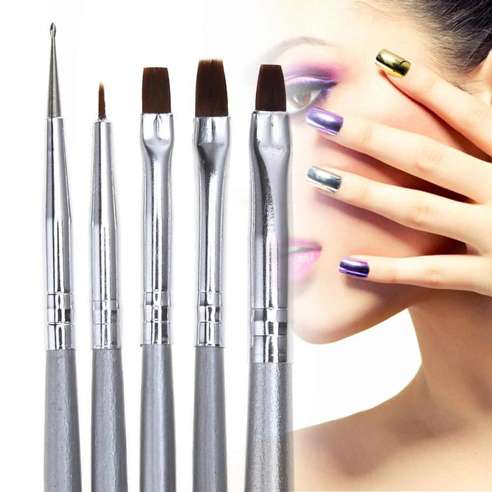 5pcs Nail Art Brushes Flat Liner Dot Dotting Pen DIY Design UV Gel Manicure Polish Tips Fingernails Painting Drawing Brush Tools D18111503
