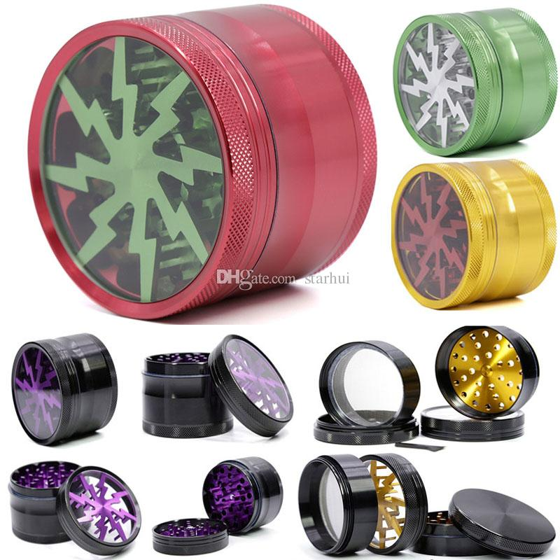 63mm Metal Tobacco Smoking Herb Grinders 4 Layers Aluminium Alloy Lighting Grinders With Clear Top Window Free DHL WX9-792
