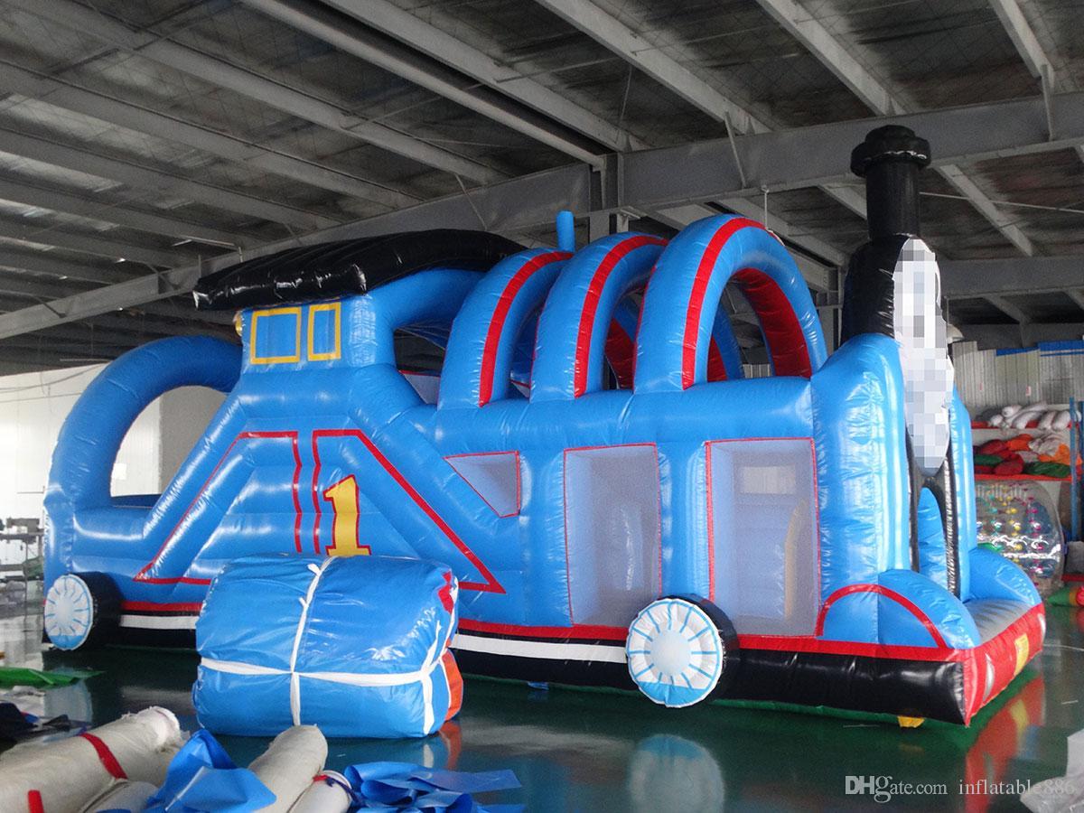 trampolín inflable inflable casa de obstáculos obstáculo con toboganes para niños