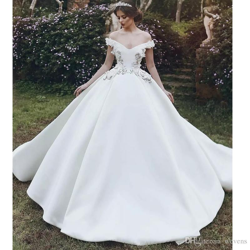 Vestiti Da Sposa Moderni.Acquista Abito Da Sposa Moderno Stile Arabo Bianco In Raso A Dubai