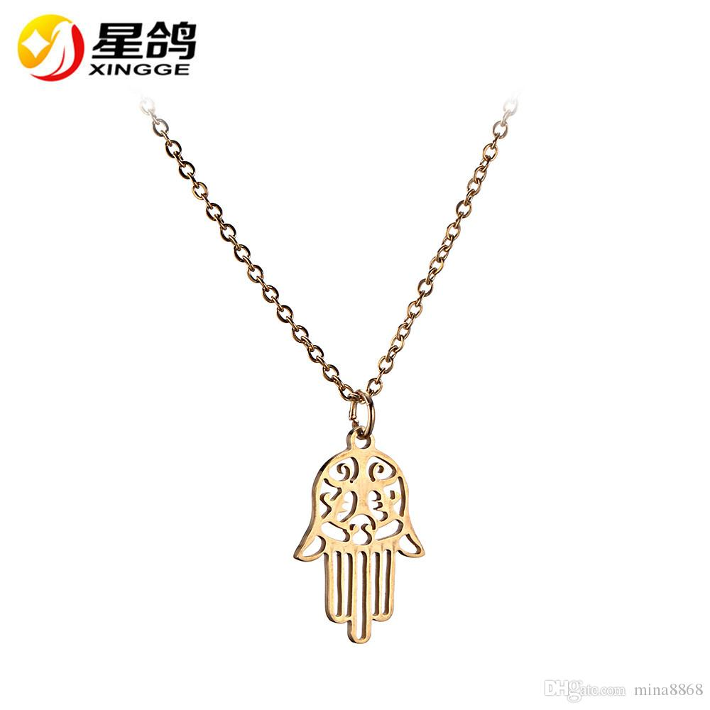 PunkStyle Statement Stainless Steel Necklaces gold/Silver Color Hollow Hamsa Hand Necklace for women men gifts collares
