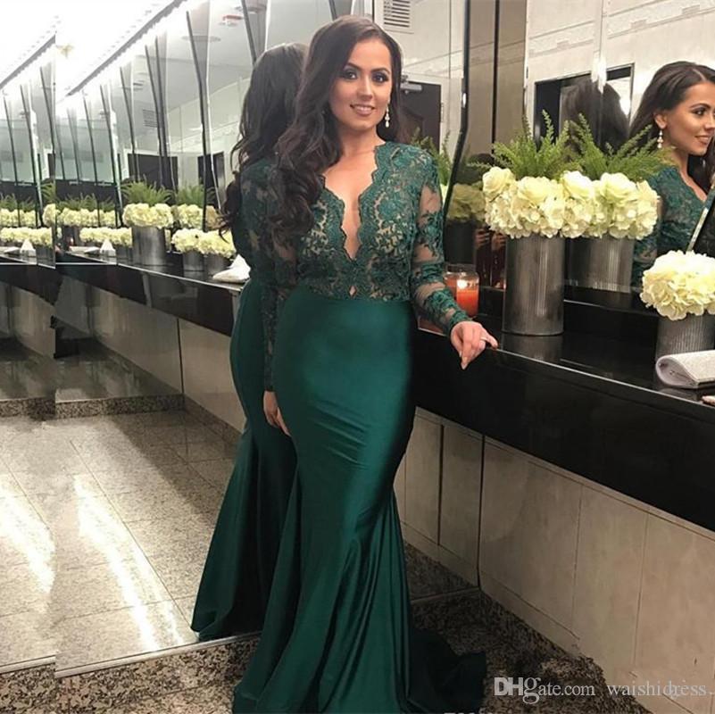 Hunter Green Mermaid Abiti da sera con scollo a V maniche lunghe in pizzo abiti da sera partito abiti da ballo