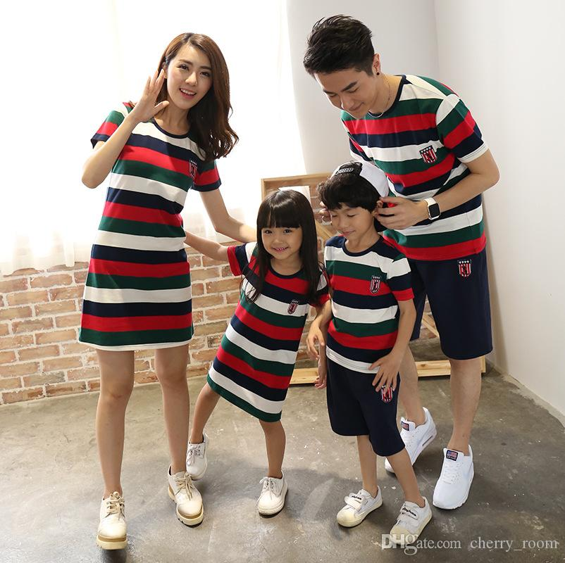 76c4c98d66 summer matching family clothing for mother daughter & father son family  look outfits fashion stripe cotton Dresses t shirt Pants Sets A8796