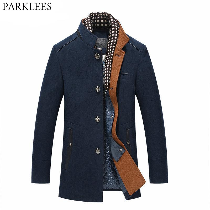 Thicker Mens Trench Coats 2017 Invierno Long Wool Trench Coat Hombres Slim Fit chaquetas casuales Peacoat doble cuello abrigo de lana