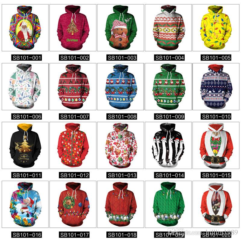 20 Colors Women Christmas Sweatshirts Unisex Santa Digital Printing Sportswear Xmas Hoodies with Hat Fashion Couples Sweaters