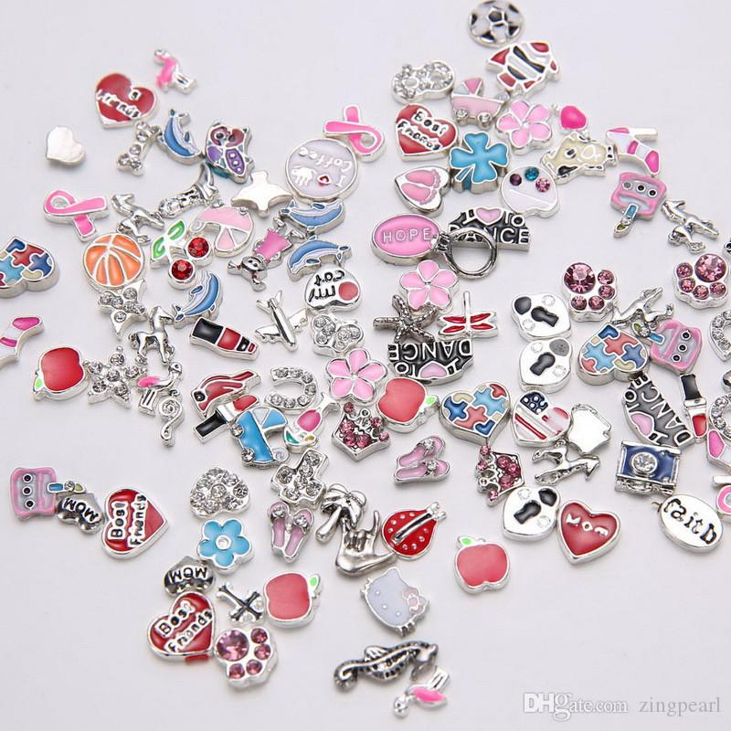 Mixed 50pcs/lot DIY Charms for Locket Pendant Bracelets Necklaces Chain for Womens Fashion Jewelry Accessories Magnetic Floating Charms