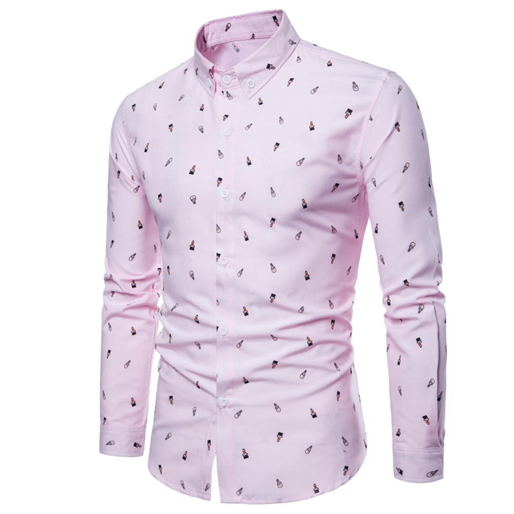 2018 Mode vetement femme Hommes Automne Casual Mode Slim Fit Coton Imprimer Chemise À Manches Longues Top Blouse camisa masculina