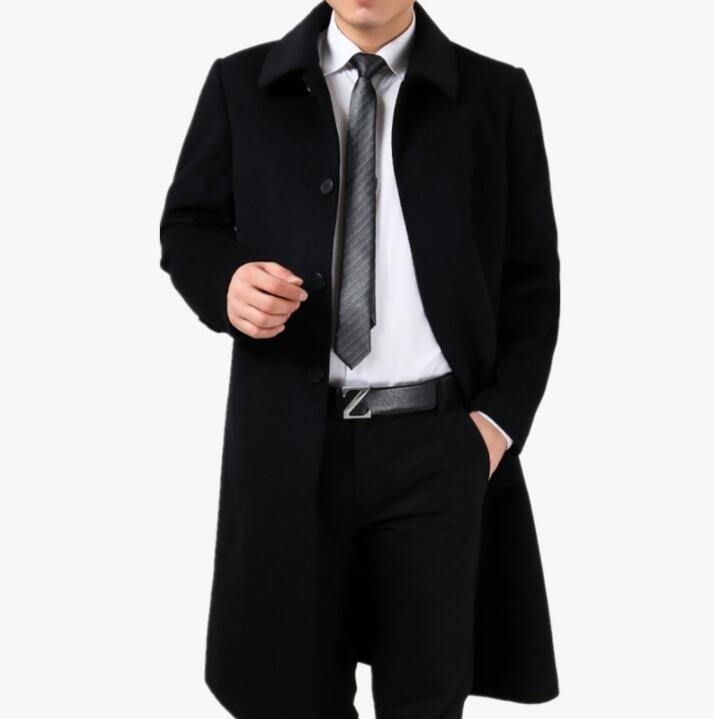 두꺼운 캐주얼 모직 코트 남성 트렌치 코트 긴 소매 따뜻한 오버 코트 망 캐시미어 코트 masculino inverno 잉글랜드 겨울 검정