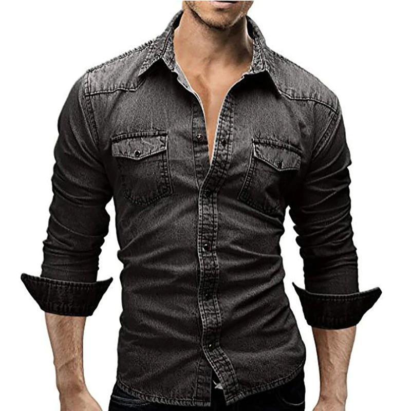 Hommes Chemise Casual Denim Mâle Manches Longues Chemises Hommes Casual Chemise De Mode Slim Hommes Jeans Chemises Plus La Taille Livraison Gratuite