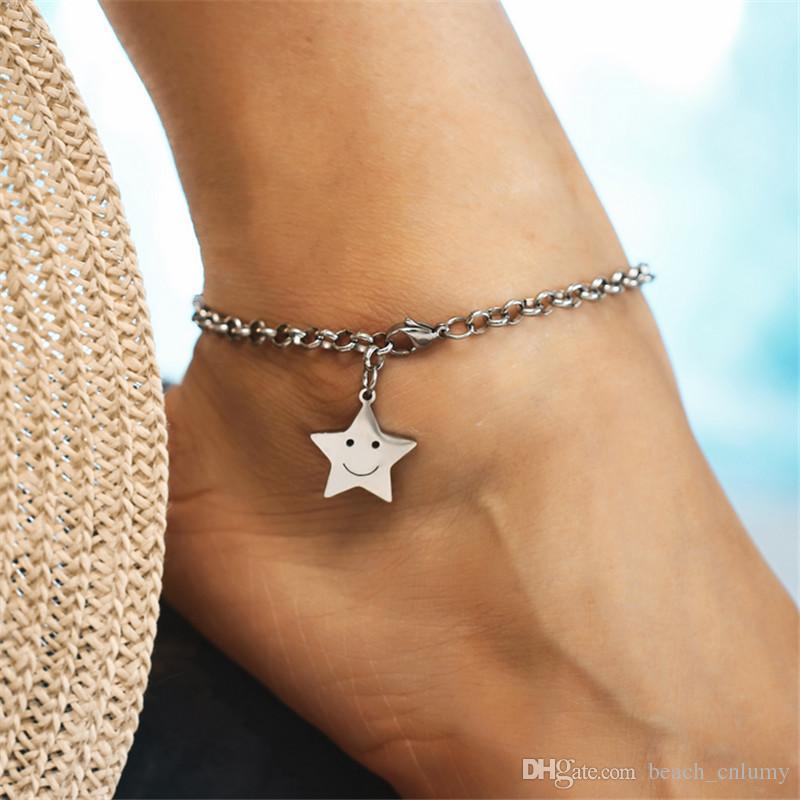Enkelbandje 스테인레스 스틸 웃는 얼굴 Stars 구두 보헤미안 여성 다리에 맨발 모래 샌들의 발목 체인 팔찌 cheville 발석