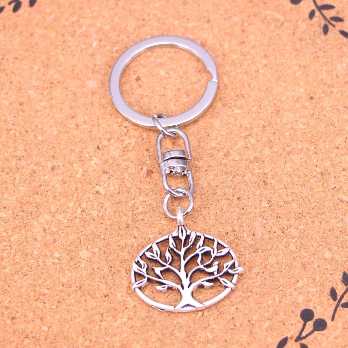 New Fashion Keychain 27*27mm life tree Pendants DIY Men Jewelry Car Key Chain Ring Holder Souvenir For Gift