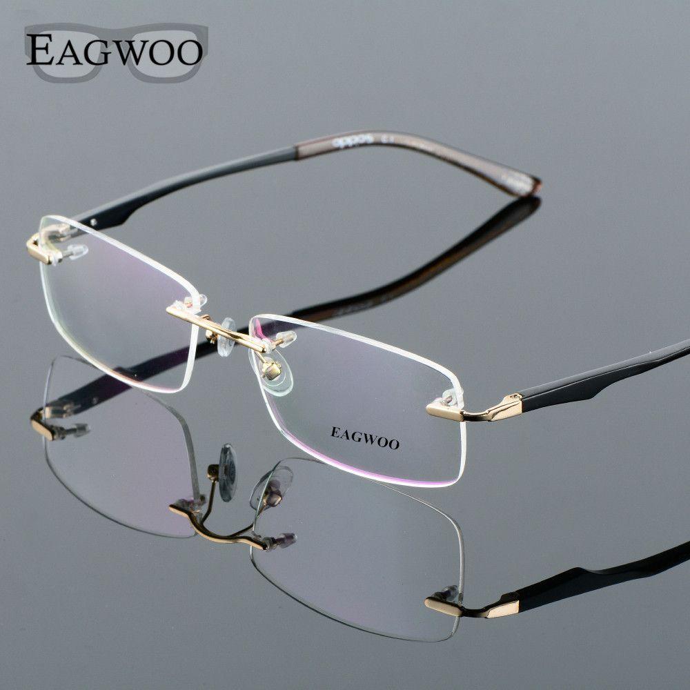 c9c1beb31929 Aluminum Alloy Rimless Optical Frame Prescription Men Eyeglasses Frameless  Glasses Reading Light Business Spectacle 8303203