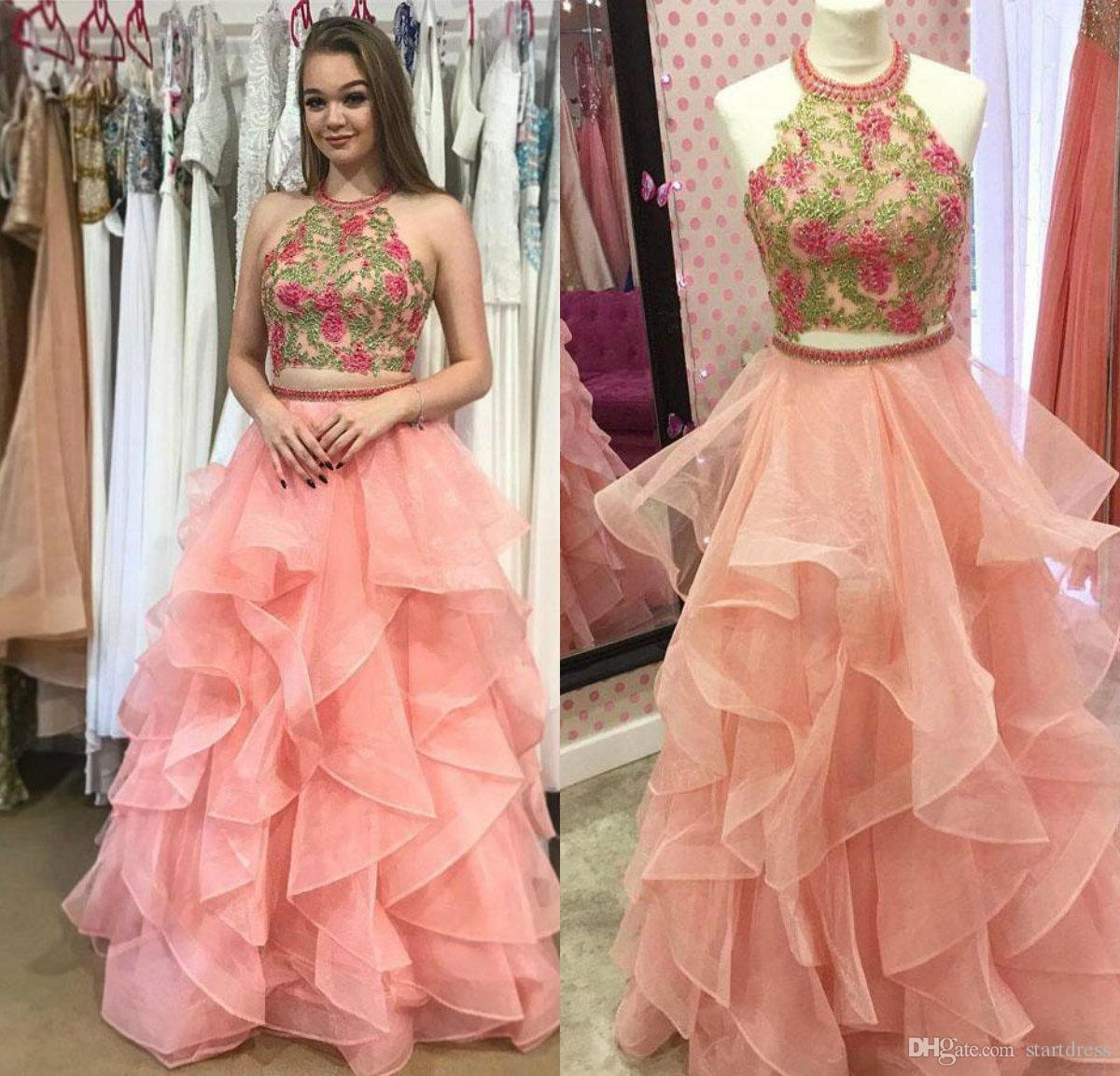 Custom Coral Halter Top Beaded 2 Piece Prom Dresses Floor Length Organza Best Ruffles Evening Gowns Sexy Backless 2018 african Party Sepcial