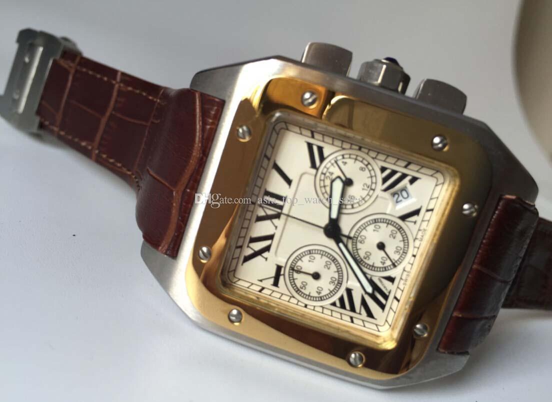Venta de la fábrica 100 XL acero inoxidable 18k oro Japón cuarzo reloj cronógrafo de los hombres W20091X7 hombres deporte fecha correa de cuero blanco diámetro
