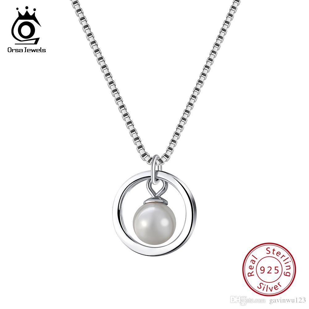 Орса JEWELS 925 стерлингового серебра NecklacesPendants для женщин Имитация перламутра круглая форма Подвески моды женских ювелирных SN86