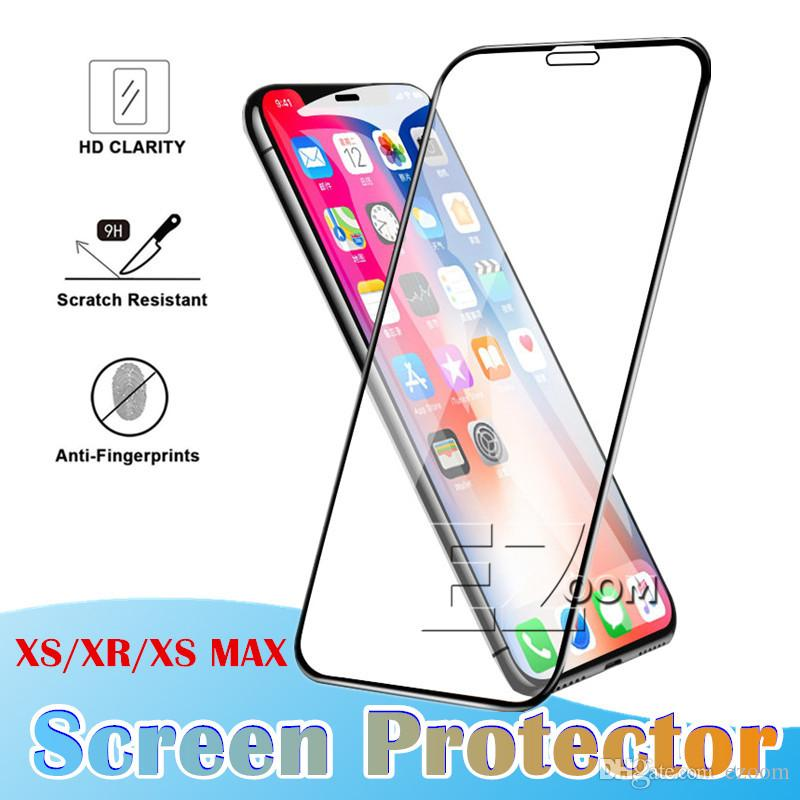 Tempered Glass Screen Protector Full Protective Design 3D Coverage Bubble Free for iPhone Xs Max Xr X 8plus 7 6 plus Without Packing