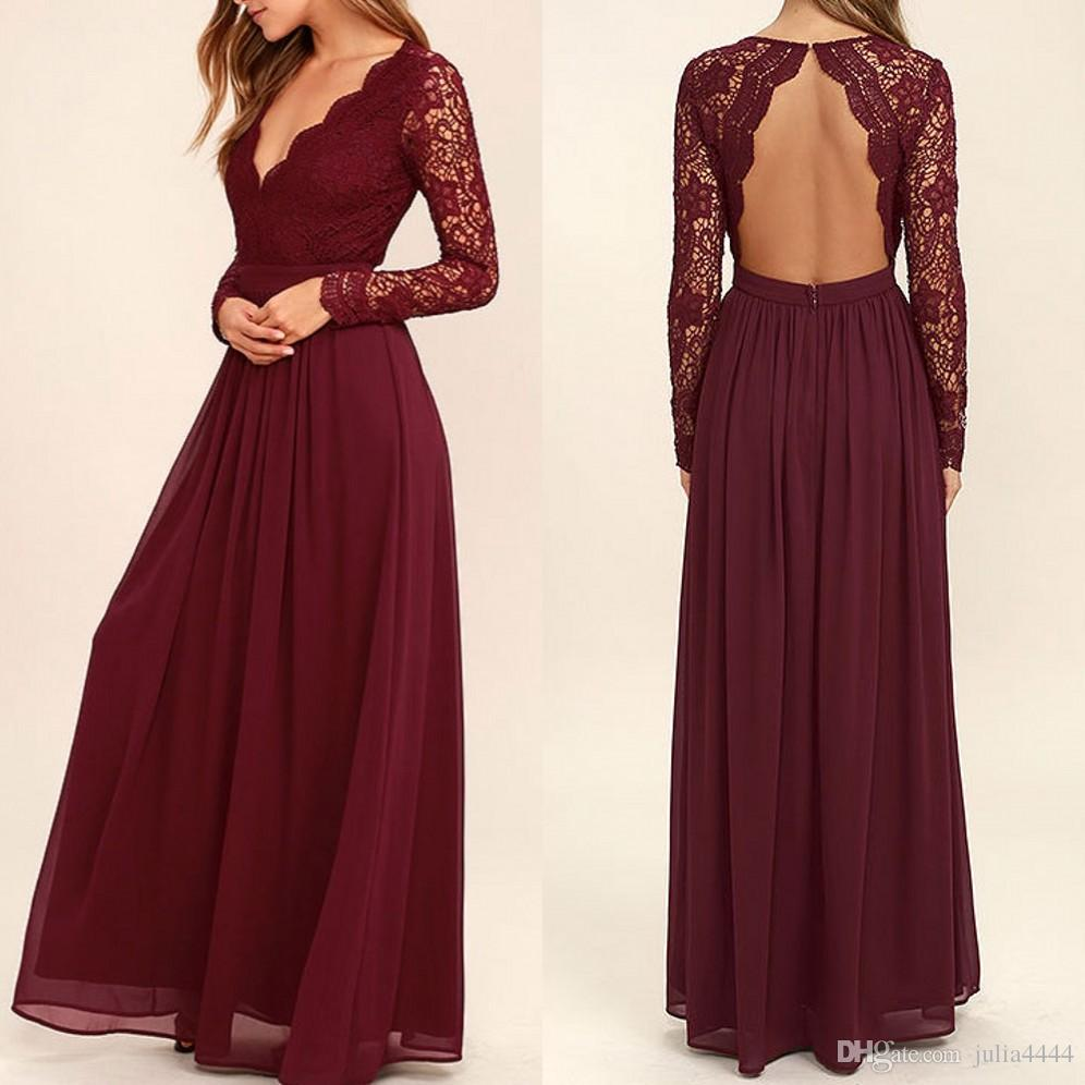 2019 Burgundy Chiffon Bridesmaid Dresses Long Sleeves Country Style V-Neck Backless Long Beach Lace Top Wedding Party Dresses Real Image