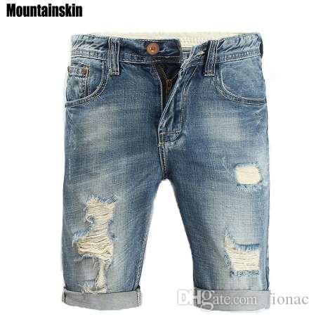 Mountainskin Летний новый мужской Hole джинсы Попа Streetwear Мужские джинсы Mid Тонкий Мужские Джинсовые шорты Сплошные Мода джинсы, SA165