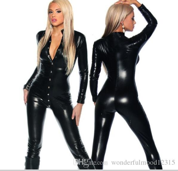 New Latex Catsuit Sexy Long Sleeve Black Faux Leather Fetish Catsuit PVC Sexy Lingerie Latex Bodysuit Costume