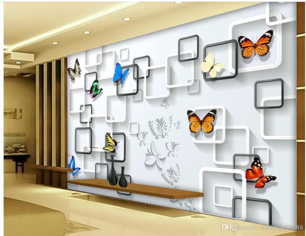 Mariposa geométrica abstracta soñadora 3D estéreo TV fondo pared pintura estereoscópica 3d fondo de pantalla