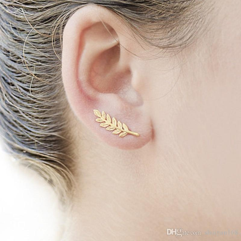 Joyería exquisita hoja de la pluma pendientes de la vendimia de las mujeres Hermoso árbol simple pendientes del encanto Dejar clip del oído joyería y accesorios