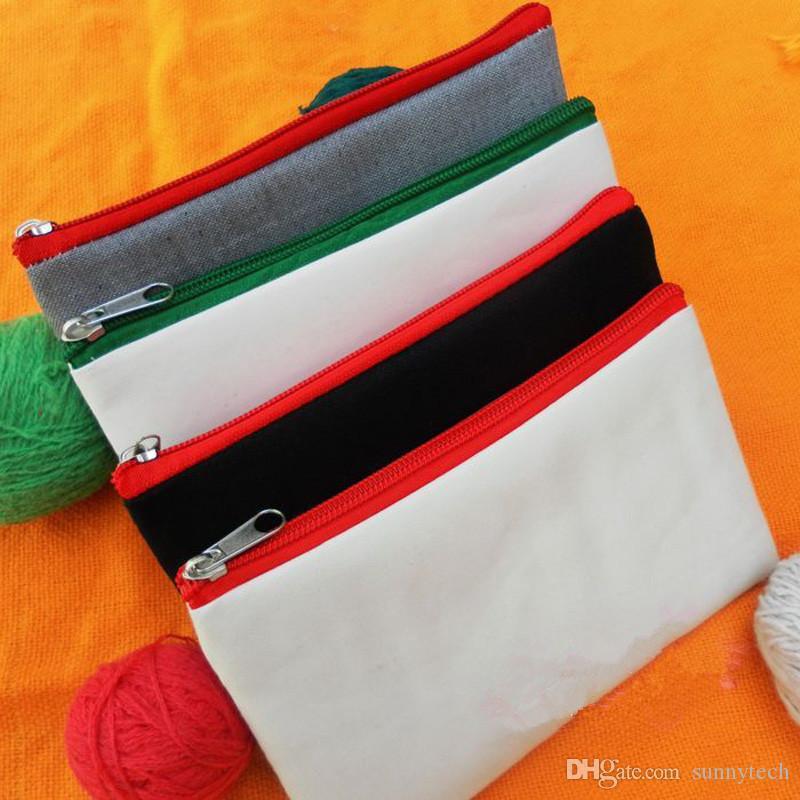 الملونة فارغة قماش سستة الحالات قلم الحقائب القطن حقائب ماكياج التجميل أكياس الهاتف المحمول الفاصل حقيبة منظم LX0562