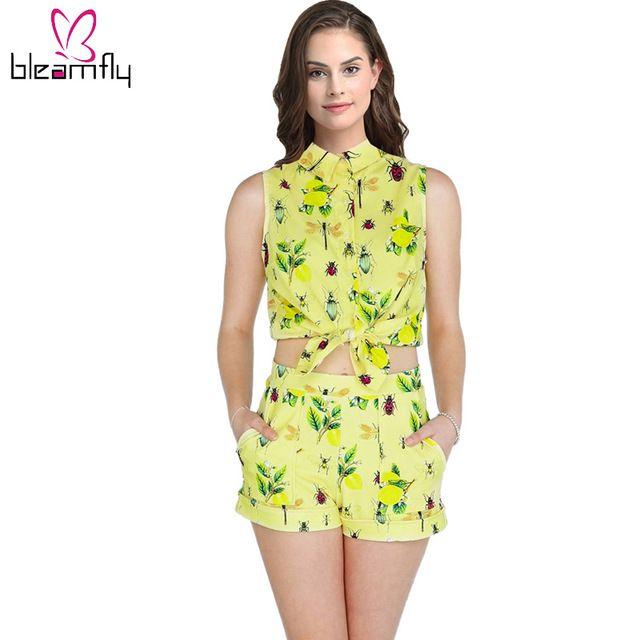 2018 Sommer 2 Zweiteiler Frauen Sexy Ärmellose Crop Tops und Shorts Set Floral Insektendruck Hohe Taille Gelb Shorts Anzüge