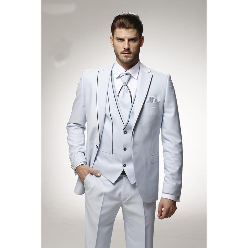 2017 Latest Coat Pant Design Ivory Satin Italian Men Suit Prom Tuxedo Slim Fit 3 Piece Groom Suits Custom Blazer Terno Masculino