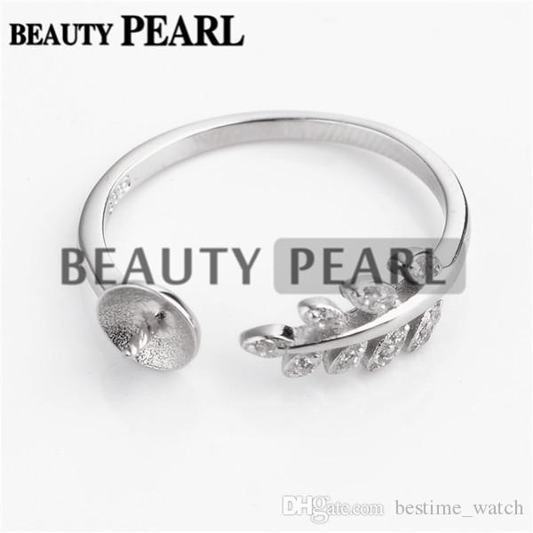 HOPEARL Jewelry 925 Sterling Silver Cubic Zirconia Plant Leaves Ring DIY Pearl Mounts Findings 3 Pieces