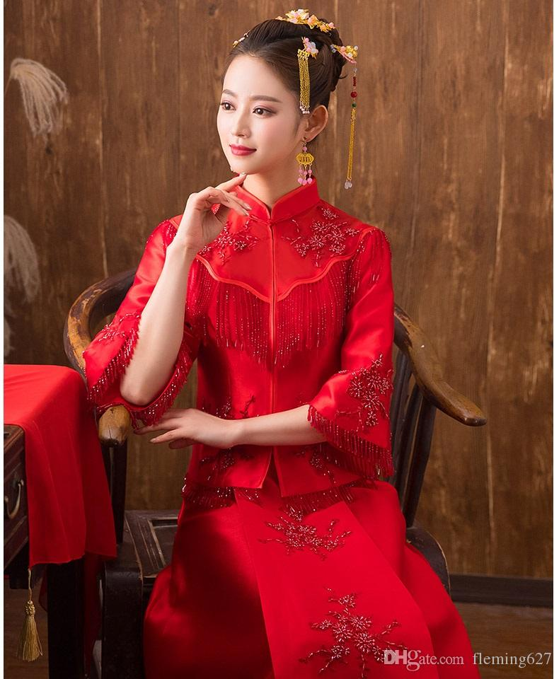 Geleneksel Gösterisi Yeni bahar yaz giysileri gelin gelinlik Robe Çin tarzı gelinlik gösterisi kırmızı Sıcak Bayan Cheongsam
