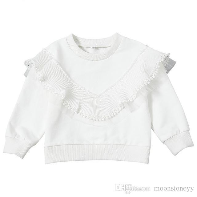 Muchacha de los cabritos del suéter de cisne blanco del invierno de la borla de niño del bebé Tops Camicette Tul sólido ocasional suéter de los niños