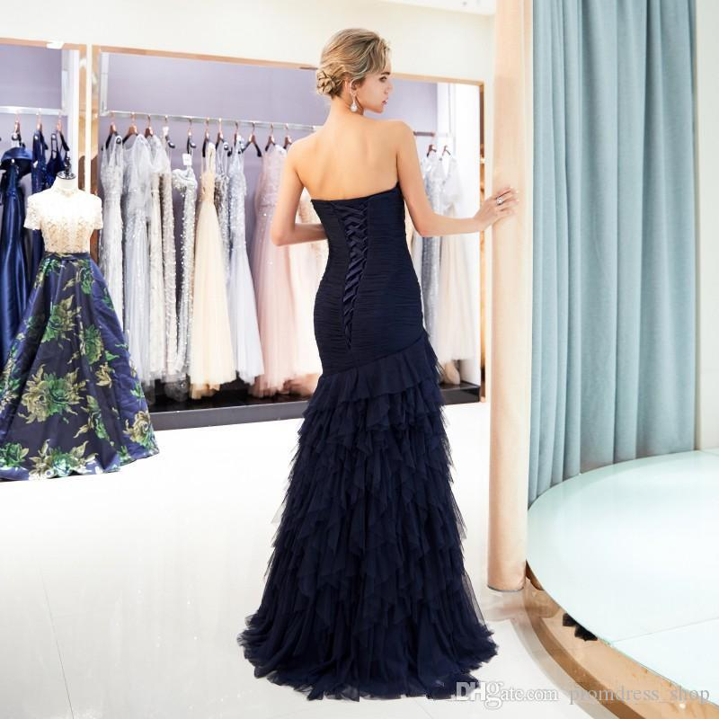 Sweetheart Navy Blue Ruffle Evening Gown Tiered Pick-ups 2020 Free Ship Prom Dresses Formal Party Dress Zipper Back Floor Length