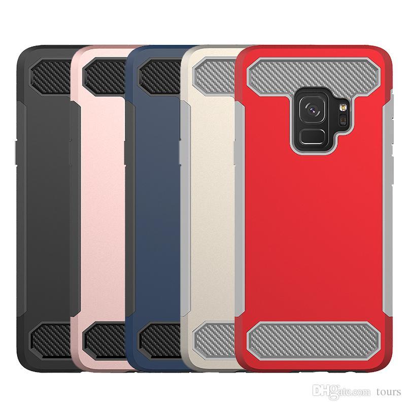 Para Samsung S9 Funda Teléfono Cajas de fibra de carbono Hybird Soft TPU Hard PC Contraportada para Samsung S9 S9 plus