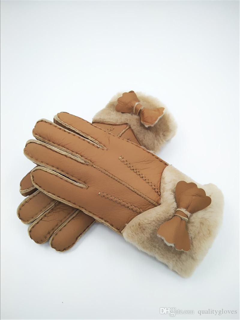 Quality Handmade women Warmer Gloves Winter Wool Gloves Mittens Fashionable Leather Gloves women