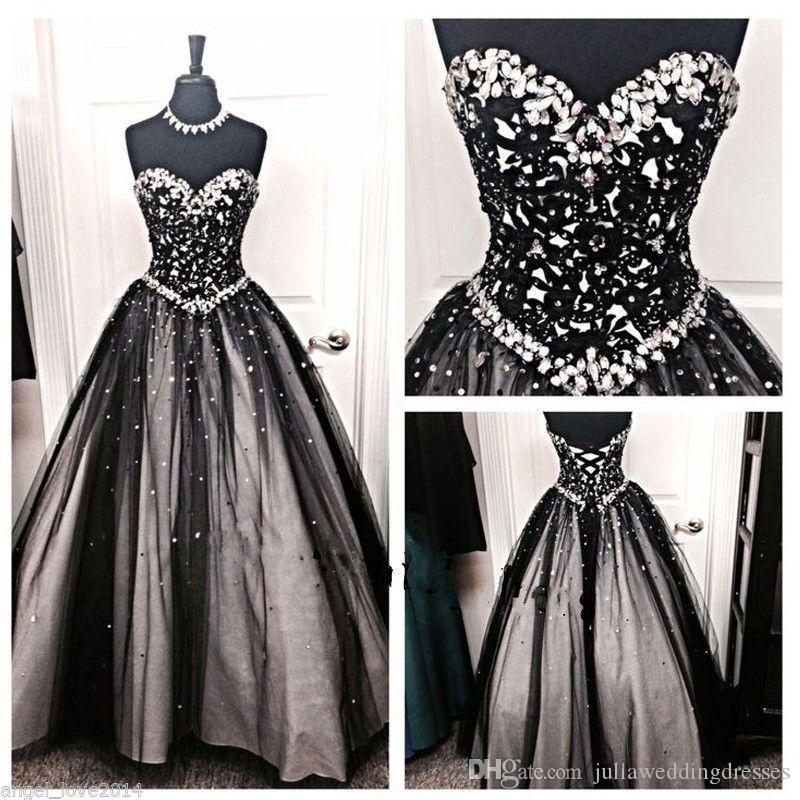 2018 New Beautiful Ball Gown Beading Black Long Quinceanera Dresses Crystals For 15 Years Sweet 16 Plus Size Prom Party Gown QC1020