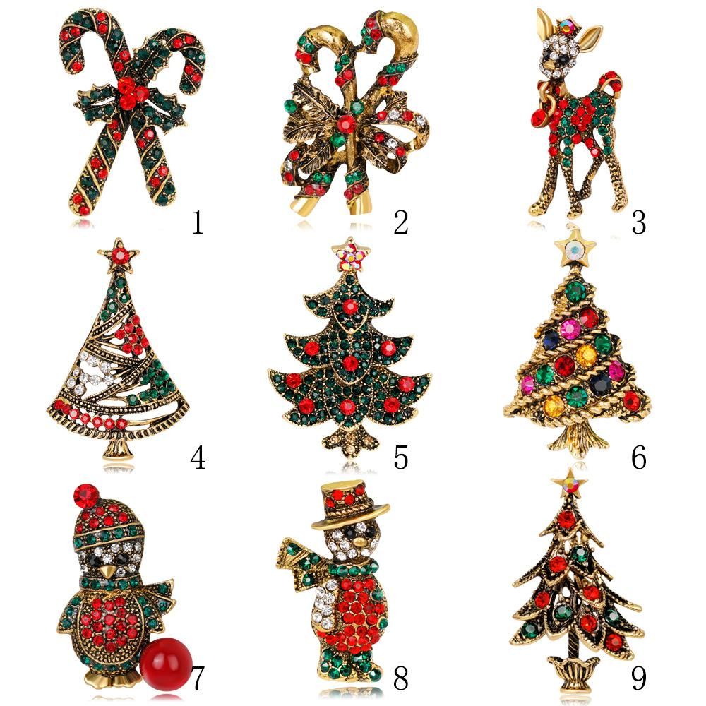 Christmas Brooches And Pins.2019 Winter Collection Christmas Brooch Pin Snowman Santa Claus Boot Garland Fashion Jewelry Gift Christmas Friend Decoration Brooches From Shiguang8