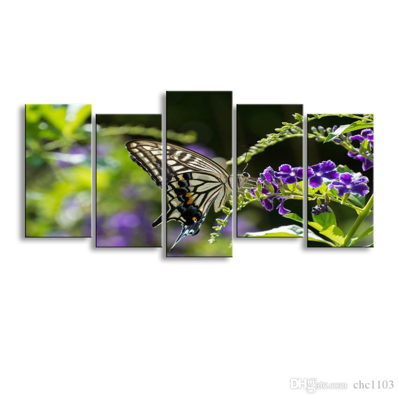5 pieces high-definition print butterfly canvas painting poster and wall art living room picture B-081