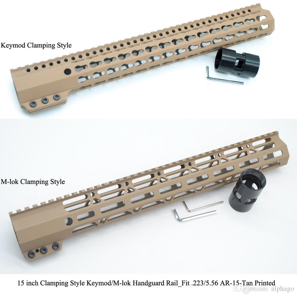 """15"""" дюйм зажимая напечатанный цвет держателя System_Tan свободного поплавка Picatinny рельса Handguard KeyMod/M-lok типа"""