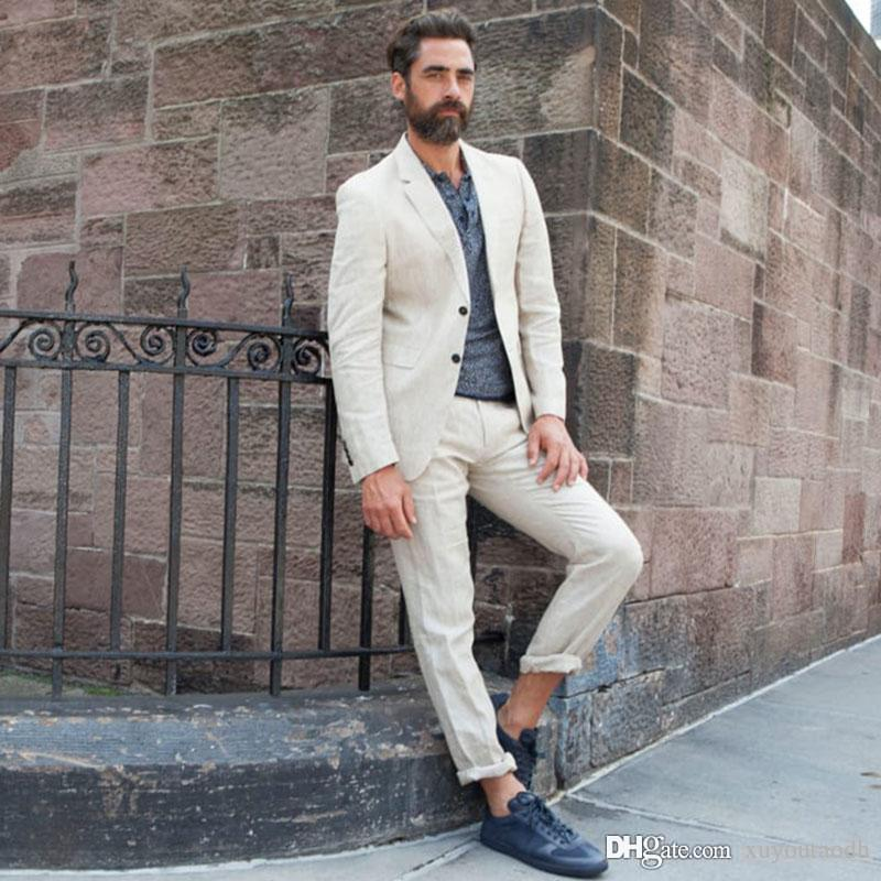 luxury highly coveted range of exceptional range of styles 2019 2018 Summer Beach Men Suits Beige Notched Lapel Custom Made Wedding  Suits Bridegroom Groom Tuxedos Blazer Prom Slim Fit Casual Best Man 2Pie  From ...