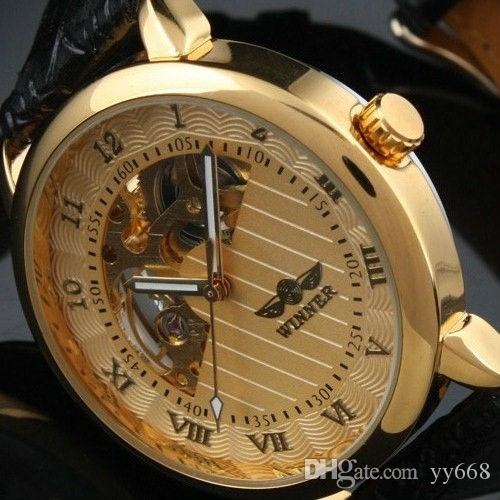 2021 New Arrival Gents Case Golden Masculino Skeletonl Clear Voltar Moda Roma Dial Watch