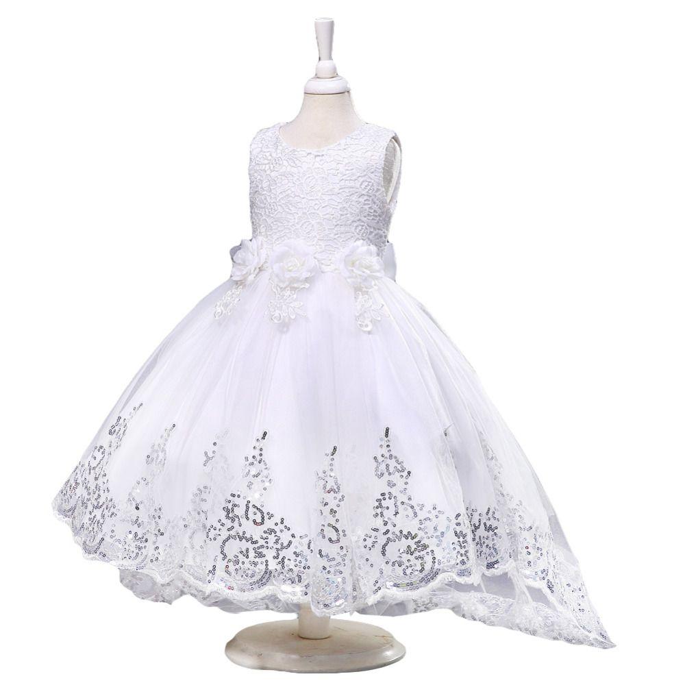 Compre Nueva Princesa Del Verano Niñas Vestido Blanco Rojo Rosa Para La Boda Vestidos De Flores Niña Sin Mangas Bebé Niños Ropa Vestido De
