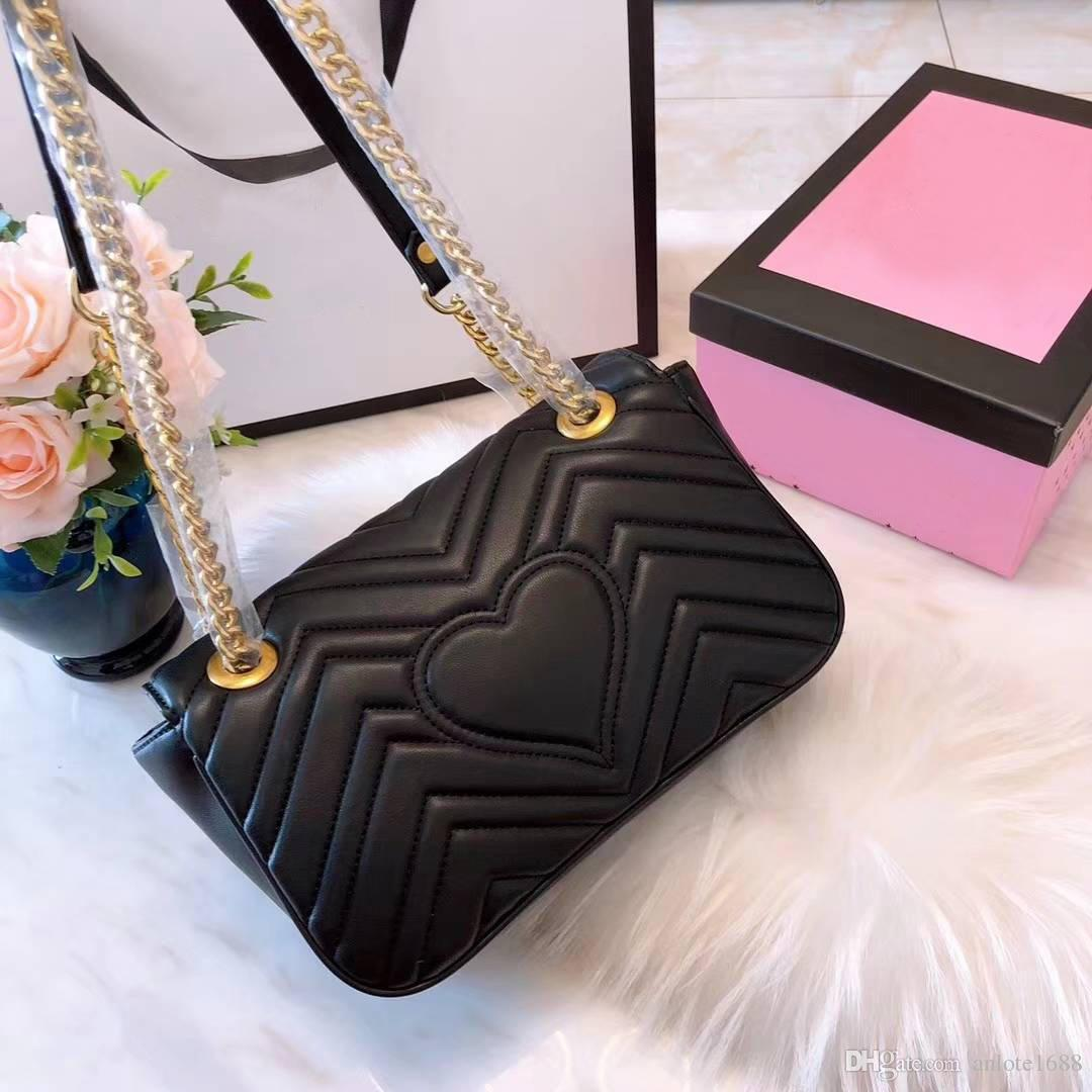 Marca Marmont Mulher Flap Bolsa de Ombro Designer De Luxo Coração Feminino Crossbody Messenger Bags Corrente de Ouro Bolsa Fechamento 8 cores Com Caixa