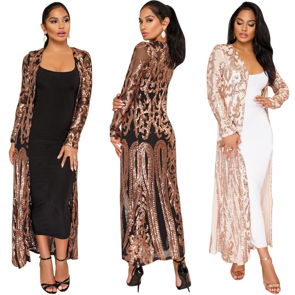 women sequin jacket cardigan trench coat bling cape paisley pattern long sleeve open front duster club evning party silver black beige s-5XL