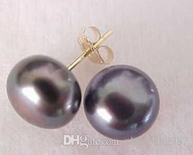 Hot 8-9 mm Orecchini con perla nera tahitiana in oro 14 kt + scatola