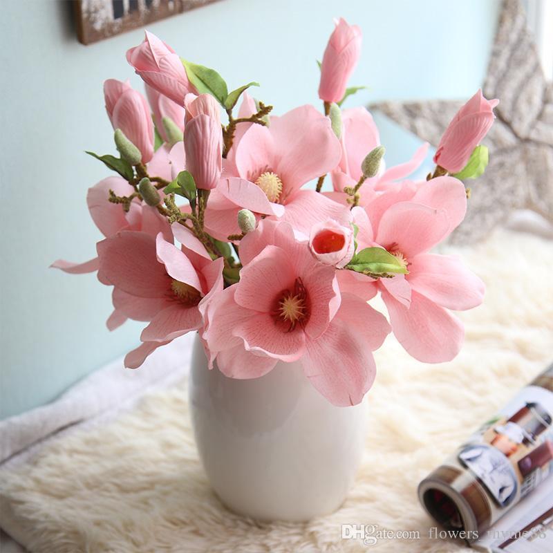 décoration de mariage des fleurs de soie fausse orchidée soie fleurs Magnolia artificielles fleurs réelle toucher la table décoration surtouts de décoration de mariage